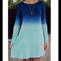"BLUE OMBRÉ TUNIC DRESS (L) Soft and comfy! 32"" long. Fits sizes 6-8 best. NO MODELING. NO TRADES. Dresses Mini"