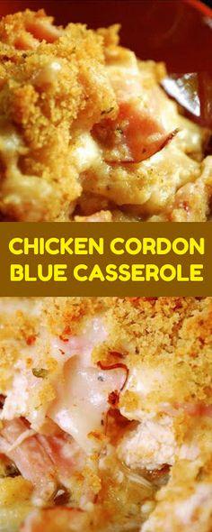 CHICKEN CORDON BLUE CASSEROLE Chicken Gordon Blue, Blue Chicken, Crispy Chicken, Unique Recipes, My Recipes, Chicken Recipes, Cooking Recipes, Chicken Cordon Blue Casserole, Chicken Lasagne