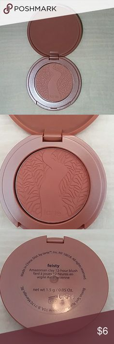 tarte Amazonian clay 12-hour blush in feisty Tarte Amazonian clay 12 hour blush in feisty.  Sample/mini size: 1.5 g or 0.05 Oz. Perfect size to try it and see if it's your color!  Offers and questions are encouraged! tarte Makeup Blush