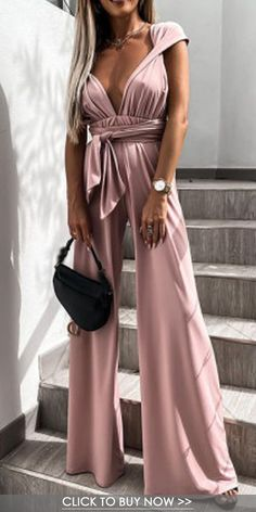 Summer Cocktail Attire, Latest Fashion For Women, Womens Fashion, Boho Fashion, Fashion Outfits, Classy Outfits, Cool Outfits, Pink Jumpsuit, Backless Prom Dresses