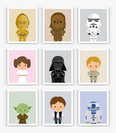 """Little Star Wars Heroes 9 Set – Instant Download, Scalable Printable, Nursery Decor, 8x10"""", Wall Art by HideAndPeekDesign on Etsy"""