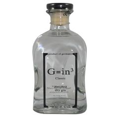 Ziegler G=in³ Dry Gin Bottle Labels, Vodka Bottle, Juniperus Communis, Gin Tasting, Dry Gin, Scotch Whiskey, Gin And Tonic, Cigars, Bb