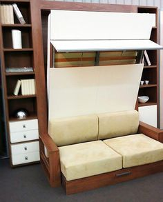 """Awesome """"murphy bed ideas ikea queen size"""" detail is offered on our web pages. Take a look and you wont be sorry you did. Murphy Bed Sofa, Murphy Bed Plans, Bed Couch, One Room Apartment, Apartment Therapy, Micro Apartment, Hideaway Bed, Modern Murphy Beds, Old Beds"""