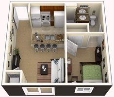 1 Bedroom Apartment Design Ideas Small One Bedroom Apartment Layout with One Bedroom Apartment Layout Ideas 3d House Plans, Modern House Plans, Small House Plans, Modern House Design, Living Room Floor Plans, Apartment Floor Plans, Bedroom Floor Plans, Apartment Bedroom Decor, Apartment Layout