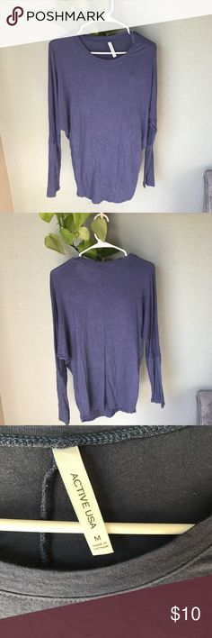 Lot of two long sleeve tees slate blue and purple This listing is for two identical long sleeve tee shirts. Super soft material and in excellent condition. They have a dolman type of sleeve and are slate blue and purple. Both are the same brand and size but only one has tags. active usa Tops Tees - Long Sleeve