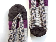 Zori Japanese Slippers with Sashiko wave straps for gift by IrodoriLife / Japanese kimono accessories