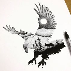 Illustrator and graphic designer Thiago Bianchini reveals a deep reverence for the mystical majesty of the animal kingdom in thousands of intricate ink markings. Inspired by double exposure Wolf Tattoos, Animal Tattoos, Cross Tattoos, Turtle Tattoos, Bird Tattoos, Tatoos, Flag Tattoos, Wolf Silhouette, Silhouette Drawings