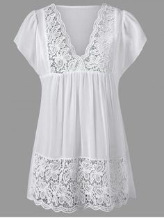 Lace Panel Cutwork Smock Blouse - Most Beautiful Bag Models 2019 Mode Xl, Vetements Clothing, Fashion Sale, Womens Fashion, Fashion Trends, White Lace Blouse, White Tunic, Blouses For Women, Women Tunic