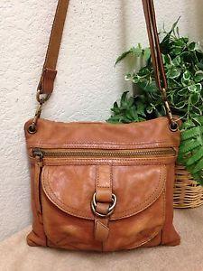Fossil Sasha Brown Distressed Leather Messenger Crossbody Bag Shoulder Handbag