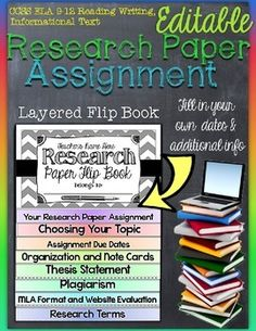 Research Paper Assignment: Editable Interactive Layered Flip BookReally nice for secondary teachers to use for a research paper assignment. Take the anguish of organization and toss it out! The flip book forces your students to keep the handouts together in one place. *This download is editable!*Includes:each flap is  inch and is ready for you  to easily line up by using the directions on how to assemble the organizer.