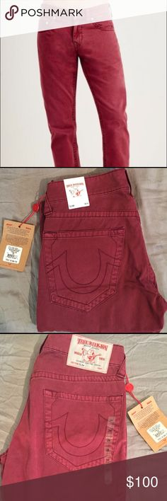 True Religion Jeans Slim Burgundy Straight $200 Brand New true religion pants with tags retail $200 True Religion Jeans Straight