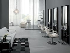Maletti Avant Gard Collection consists of Maletti Relookage Salon Chairs, Maletti Relax 3 Waiting Lounge, Maletti Igor Salon Workstation