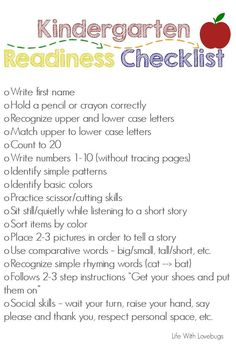 Getting Ready for Kindergarten - Printable Checklist - Life With Lovebugs