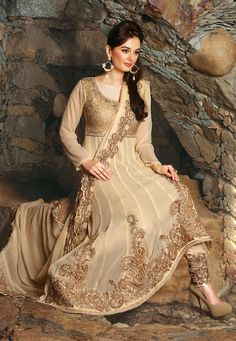 Light #Beige Faux #Georgette #Anarkali Churidar Kameez @ $198.86