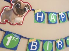 Puppy Dog Pals Banner Made from greenbluewhite card stock yellowblue glitter paper dots and blue satin ribbon. Each square measures 5 tall. Images can be added. Boy Birthday Parties, It's Your Birthday, Blue Glitter, More Fun, Dogs And Puppies, Banner, Blue And White, Blue Satin, Ash