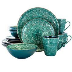 casual dinnerware Freshen up your table setting with the textured Sea Foam 16 Piece Dinnerware Set by Elama. With a calming tone of Sea Green and textured mandala style designed plat Green Dinnerware, Stoneware Dinnerware Sets, Casual Dinnerware, Tableware, Farmhouse Dinnerware, Serveware, Sea Green Color, Dish Sets, Turquoise