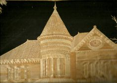 Galveston Homes  Victorian era Homes  Handmade with leaves of rice plant by museumshop, $99.00