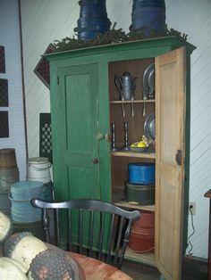 Beautiful early 19th century green Cupboard