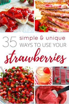 35 Simple and Unique Ways to Use Your Strawberries. Plus a fabulous bonus - something I never knew you could make with a just a strawberry and a paring knife!! Absolutely incredible!!
