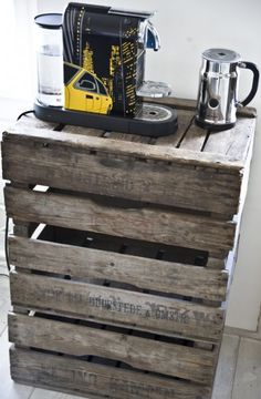 Great idea for a small storage table in kitchen :)