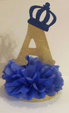 Little Prince or Princess Initial Crown Glitter Centerpiece Gold Royal Blue Birthday Party or Baby shower Table decor You pick colors – Leslie Malave Martinez – Join in the world of pin Shower Party, Baby Shower Parties, Baby Shower Themes, Baby Boy Shower, Royal Baby Shower Theme, Shower Favors, Shower Invitations, Prince Birthday Party, 1st Birthday Parties