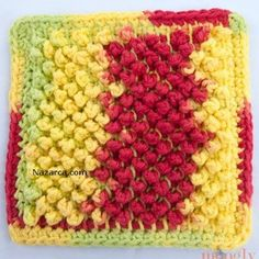 Tunisian crochet is used to create this Pretty Pebbles Dishcloth. Once you learn how to do Tunisian crochet, using your new skills can be addicting. This dishcloth pattern is really quite simple to crochet if you know the basics of Tunisian crochet. Crochet Afghans, Tunisian Crochet Patterns, Crochet Dishcloths, Knitting Patterns, Crochet Squares, Crochet Home, Crochet Crafts, Easy Crochet, Crochet Projects
