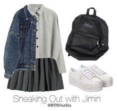"""Sneaking Out with Jimin"" by btsoutfits ❤ liked on Polyvore featuring Jeffrey Campbell and French Toast"