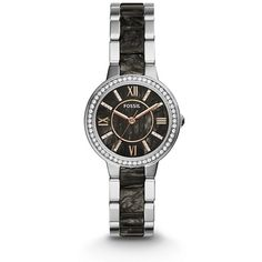 Fossil Virginia Three-Hand Stainless Steel And Acetate Watch Two-Tone