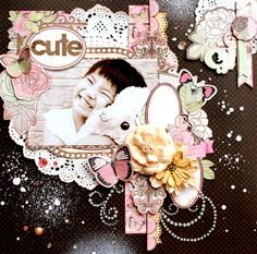 Kaori Fujimoto created this stunning layout using the new Primrose collection and Double Dot cardstock. Love all the elements. #BoBunny