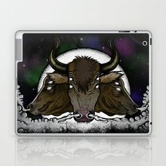 Evil Eyed Space Bulls Laptop & iPad Skin by Leslie Poe Designs - $25.00  #space #celestial #bulls #illustration #case