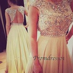 Creamy white backless chiffon long prom dress & graduation dress