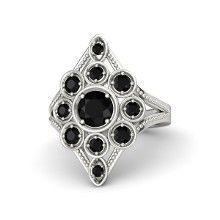Round Black Onyx 14K White Gold Ring with Black Onyx