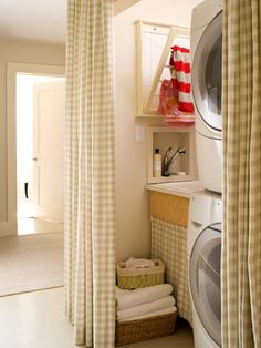 Here, a curtain installation adds pizzazz and provides a seamless transition from the hallway to the laundry room: http://www.bhg.com/rooms/laundry-room/makeovers/laundry-room-decorating-ideas/?socsrc=bhgpin030214compactsolutions&page=6