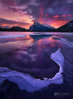 Winter sunrise in Banff National Park, Alberta, Canada