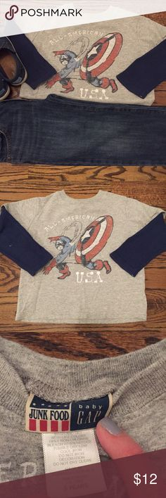 Captain America Junk Food tee This cool Captain American tee has a gray tee with blue thermal sleeves for the faux layered look.  Made by Junk Food for Gap Kids in Size 3.  In gently loved condition. GAP Shirts & Tops Tees - Long Sleeve