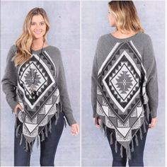 Sweater poncho Aztec print poncho style sweater with fringe. Price is firm unless bundled. S(2/4) M(6/8) L(10/12) Only small left Sweaters Shrugs & Ponchos
