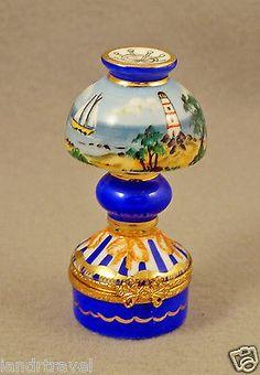 NEW FRENCH LIMOGES BOX  LAMP W TROPICAL  SCENE SAILBOAT LIGHTHOUSE & PALM TREES