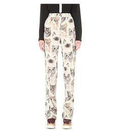 STELLA MCCARTNEY Cat-Print Wide-Leg Silk Trousers. #stellamccartney #cloth #trousers