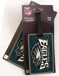 NFL Philadelphia Eagles Two Pack Soft Laser Bag Tag by aminco. $5.48. Made of Non-Toxic Vinyl. Backside Allows you to Slip in a Business Card or Handwritten Card. Two Soft Laser cut Rubber Bag Tags. NFL Philadelphia Eagles Two Pack Soft Laser Bag Tag