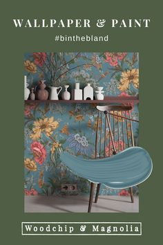 Always bold and always beautiful, Woodchip & Magnolia is anything but bland.#binthebland Painting Wallpaper, Wallpaper Samples, Wallpaper Roll, Blue Floral Wallpaper, Botanical Wallpaper, Magnolia Paint, Bedroom Colours, Decorating Ideas, Decor Ideas