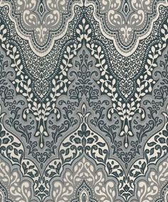 Glitter Damask (404708) - Albany Wallpapers - An Indian inspired large scale all over damask design drawn in white and shades of grey, with silver and turquoise glitter - an incredible effect. Please request sample for true colour match.: