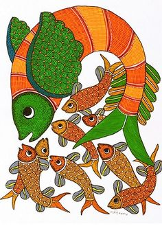 Rajendra Shyam: Shoal of Fish - In Stock Mural Painting, Mural Art, Fabric Painting, Indian Art Paintings, Nature Paintings, Kunst Der Aborigines, Madhubani Art, Indian Folk Art, Madhubani Painting