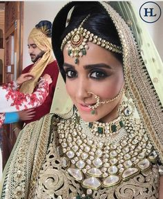 """""""Jewellery is a way of keeping memories alive ."""" Congratulations to the beautiful bride Esha ! Savour your most special memory on your wedding day with Marvellous and Memorable jewellery from the House of #HazoorilalBySandeepNarang#sparkle #radiate #mesmerise #enchant #Hazoorilal #SandeepNarang #bespoke #wedding #londondiaries #bridal #polki #jewellery #Hazoorilal #HazoorilalJewellers"""