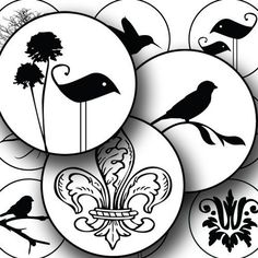 the 100 best maddy s 10th bday images on pinterest in 2018 healthy 100 Birthday Celebration birds flowers fleur de lis and other modern designs are paired together in a black and white silhouette printable collage sheet by piddix