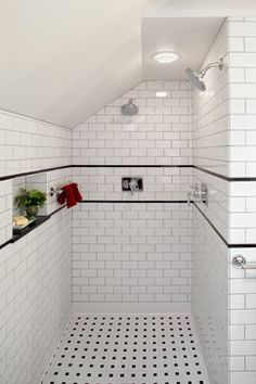 Irvington Attic to Master Suite Renovation   traditional   Bathroom    Portland   Fouch Building     Black And White  Black and white bathroom boasts a black rivet industrial mirror  . Black And White Bathrooms Images. Home Design Ideas
