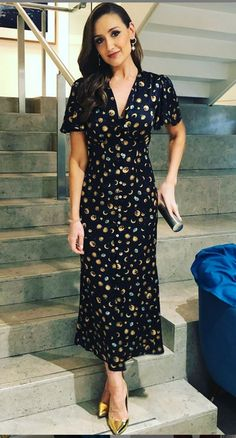 Catherine Tyldesley, Soap Stars, Short Sleeve Dresses, Dresses With Sleeves, Wrap Dress, Fashion, Moda, Sleeve Dresses, Fashion Styles