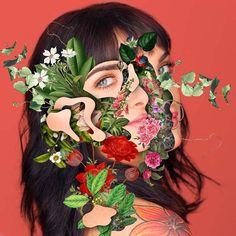 Les Collages colorés de Visages fleuris de Marcelo Monreal (2)