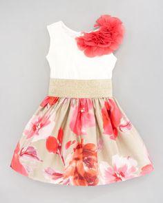 Zoe Metallic Waist Floral-Print Dress - Neiman Marcus