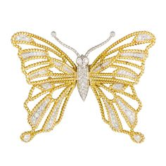 Verdura Diamond Gold Platinum Butterfly  Brooch | From a unique collection of vintage brooches at https://www.1stdibs.com/jewelry/brooches/brooches/