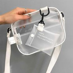 Causual PVC Transparent Clear Woman Crossbody Bags Shoulder Bag Handbag Jelly Small Phone Bags with Card Holder Wide Straps Flap Louis Vuitton Handbags, Purses And Handbags, Leather Handbags, Aesthetic Bags, Transparent Bag, Clear Bags, Types Of Bag, Cute Bags, Vinyl
